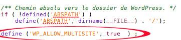 Position de la ligne de code dans le fichier wp-config.php