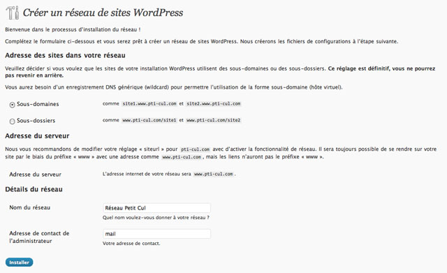 Installation de WordPress Mu