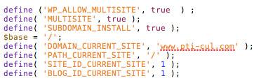 Edition du fichier wp-config.php