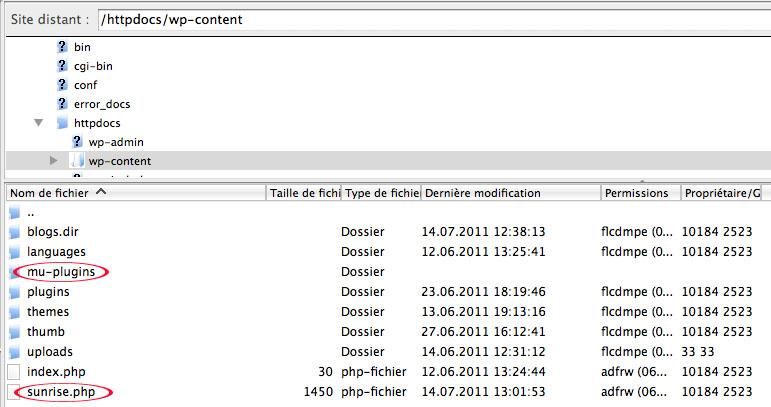 Envoi du fichier sunrise.php, et création du dossier mu-plugins dans le répertoire /wp-content/