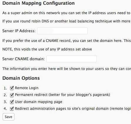 Configuration du plugin Domain Mapping