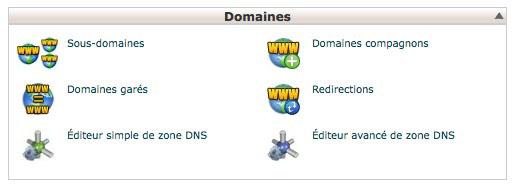 Domaines garés dans cPanel