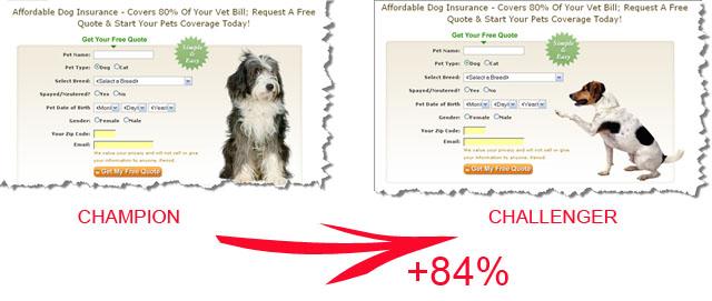 Exemple de test A/B avec une augmentation de conversion de + de 80% avec le changement de l'image !