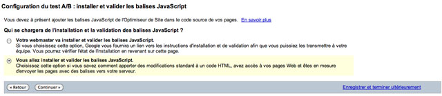 Choisir d'installer soi même les JavaScript