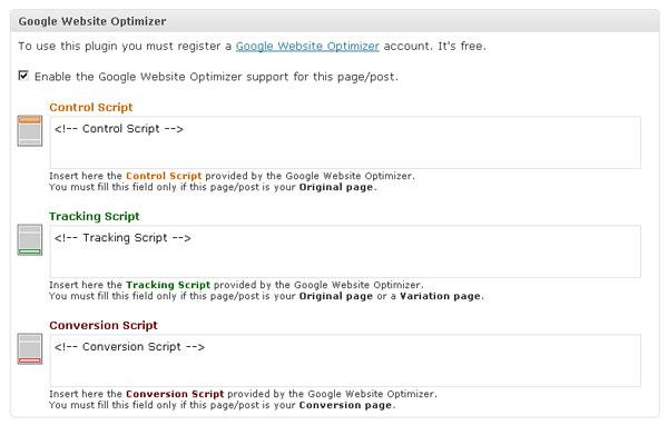 Champs de GWO for wordpress dans les articles et les pages de votre blog