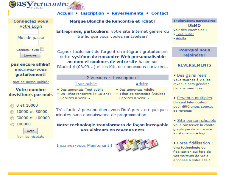 En 2002 la plateforme d'affiliation EasyRencontres c'était ça :)